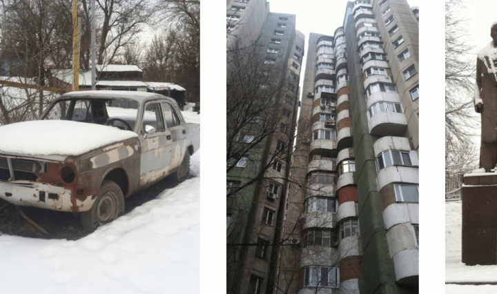 Privet, Moldova; pictures of the town, a statue, a car and a building covered in snow.