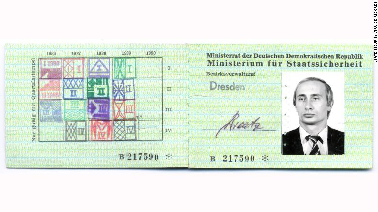 Putin's former ID card as a member of the Eastern German secret services. Source: CNN